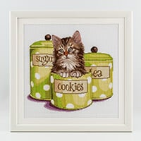 Thea Gouverneur Kitten and Cookie Jar Cross Stitch Kit on Aida-259287