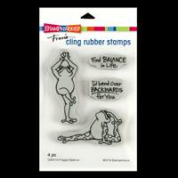 Stampendous Froggie Balance Cling Stamp Set - 4 Stamps-265900