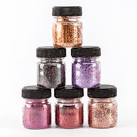 Creative Films 6 x 12g Jars of Glitter - Black, Copper, Orange, L-272490