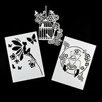 Imagination Crafts A4 Stencils - Rose Fairy, Birdcage and Pearl L-283217