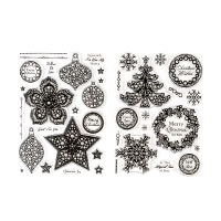 Craft Buddy 2 x A5 Festive Gem It Stamp Sets - Christmas Wishes a-299607