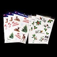 Festive Window Stickers - Reindeer & Trees and Robin & Holly - 72-315533