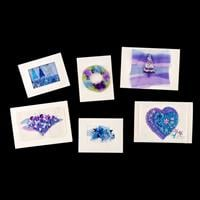 Rowandean Embroidery Christmas Cards Kit - Blue & Purple-317144