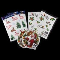 6 x Packs of  Christmas Window Stickers - Santa, Reindeer & Robin-333644