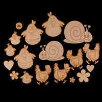 Karacter Krafts set of 18 x Cute Accessory Set of Shapes & Embell-334395