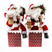 Set of 2 Animated 60cm Santa in Chimney-335883