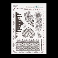 Chocolate Baroque Indian Textiles A5 Stamp Sheet-343846