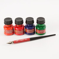 Koh-I-Noor® Artists Drawing Ink Kit Includes 4 x Inks, 1 x Pen Ho-345547