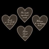 Impressions Crafts 4 x Perspex Engraved Hearts with 'Words'-347556