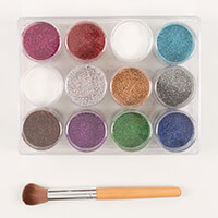 Dawn Bibby 12x12g Pots of Luxury Holographic Glitter with Brush-349625