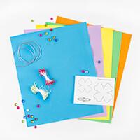 Foamiran Flower Kit & Workshop - 5 x Sheets, Template, Stamens, C-349957