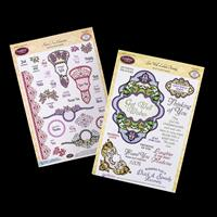 JustRite 2 x Clear Stamp Sets - Floral Fan Elements & Get Well La-352699
