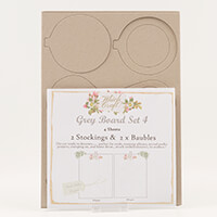 Which Craft? Grey Board Set 4 - Jolly Baubles and Santas Stocking-363656