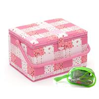 Sewing Online Pink Patchwork Large Sewing Basket, with Sewing Kit-365795