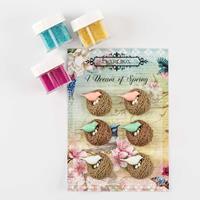 Spring by The Craft Box - 3 x 15ml Micro Bead Pots & Resin Bird S-369485
