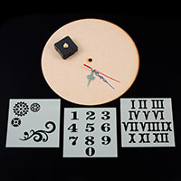 Daisy's MDF Clock with Mechanism with Set of 3 Stencils - Numbers-404278
