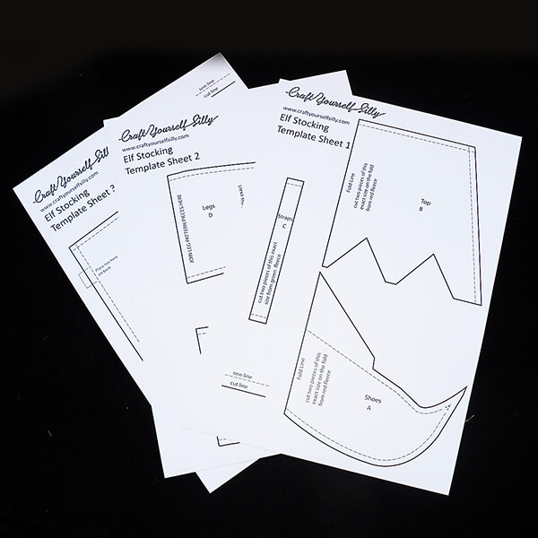 Craft Yourself Silly Elf Feet Stocking Template-405132