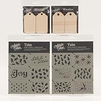 Artistic Flair Festive Tabs & Tags - 12 Mini Tab Stencils & 12 x -405394