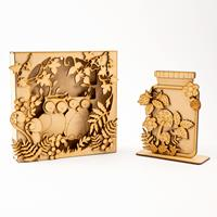 Madhatters Laser Cut MDF Owl Box Frame and Jam Jar Scene Kit - Ma-408025