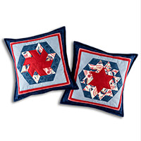Lina Patchwork EPP Blue Belles Cushion Pattern for 2 Cushions wit-414207