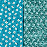 Threaders Tokyo Blue Blossom & Jumon Fans - 1 Metre Fabric Bolts-416539
