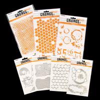 StudioLight 4 Grunge Die Sets and 3 Grunge Stencils-426998