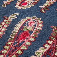 Empress Mills 100% Cotton 1m Embroidered Denim Border Fabric-432857