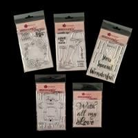 Woodware 5 x Stamp Sets - Riding Boots, Posy Ring, Celebrating Yo-434000