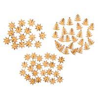 Assorted 3D MDF Festive Decorations - Stars & Trees - 3 Packs Tot-443432