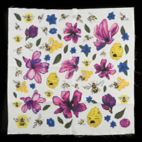 Dawn Bibby Floral Motif Panel with Applique Elements 100% Cotton -457359
