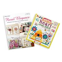 Set of 2 Cross Stitch Books - Floral Elegance and Home & Heart-459355