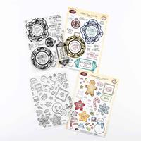 Justrite 2 x Clear Stamp Sets - Christmas Vintage Labels & Appliq-460801