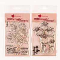 Woodware 2 x Clear Stamp Sets - Classic Rose Bunch and Poppy Head-465285
