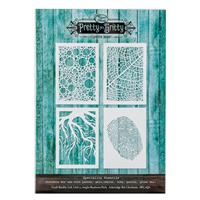 Pretty Gets Gritty Set of 4 A5 Mixed Media Stencils-466285