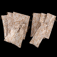 Craft Buddy Set of 8 Lace-Covered Jute Bags - 35 x 25cm and 15 x -484382