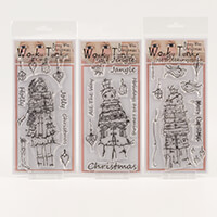 Which Craft? 3 x DL Wonky Tonk Bonny Wee Stamps - Holly Jolly Tra-490031