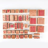Wooden Stamp Set - 41 Pieces  - Assorted Sizes & Designs-505513
