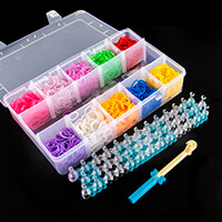 Assorted Coloured Loom Bands in Plastic Storage Case - 10 Colours-505733