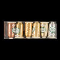 Marathon Threads Pack of 6 x 1000m Rayon Cops (Metallics) - Gold,-507492