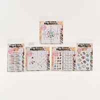AALL & Create Set of 5 Stencils - Sound Wave, Compass, Seashells,-508597
