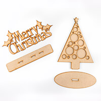 Daisy's MDF Christmas Tree & Merry Christmas Stand - 5 Pieces-509330
