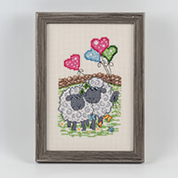 Permin Sheep Hearts & Balloons Aida Cross Stitch Kit - 15cm x 22c-512410