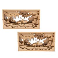 Samantha K Deer Set - 2 x 20cm Deer Forest Shadow Box-515381