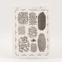 Chocolate Baroque Abstract Fragments Unmounted Rubber Stamp Set-519176