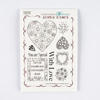Chocolate Baroque Floral Heart A6 Stamp Sheet - 9 Images-534949