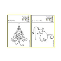 Nina Crafts Set of 2 Stamps - Swirly Tree & Ornate Festive Wishes-537253