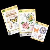 JustRite® 3 x Cling Stamp Sets - Butterflies, Floral Vintage Labe-541637
