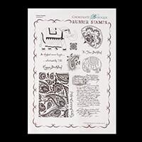 Chocolate Baroque Paisley Elephant A4 Stamp Sheet-543819