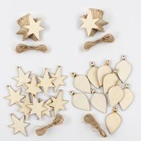 Craft Buddy - Laser Cut MDF Ornaments with Twine - Bauble & Star -552939