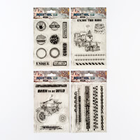 Studio Light 4 Industrial Stamp Sets - Train, Motorbike, Tyre Tra-556190